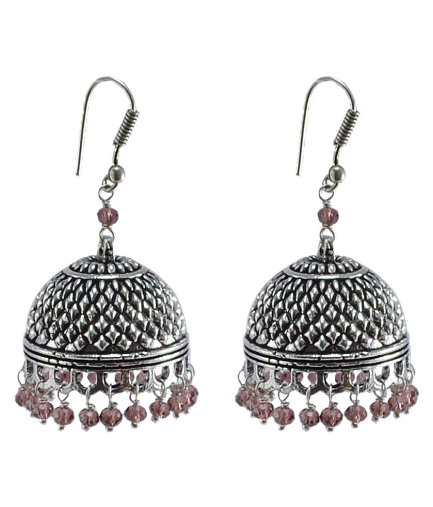 Indian Classical Designed Traditional Vintage Jhumkis With Amethyst Crystal Beads -Crafted By Silvesto India PG-105664