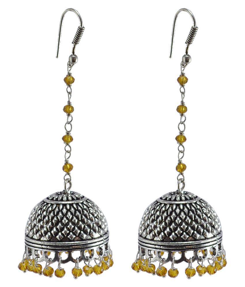 Silvesto India Explicit Handmade Traditional Jewelry 31.2 Grams Citrine Crystal Alloy Oxidized Long Jhumka Earrings PG-105666