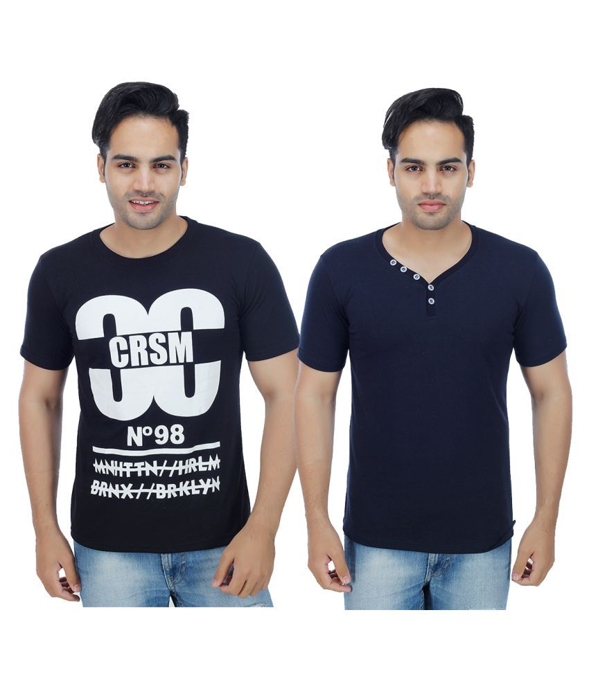 Rakshita's Collection Blue Round T-Shirt Pack of 2