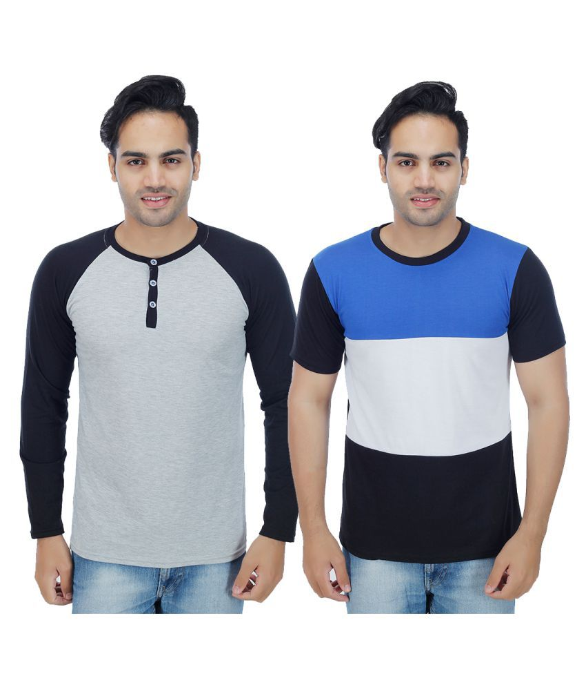 Rakshita's Collection Multi Henley T-Shirt Pack of 2