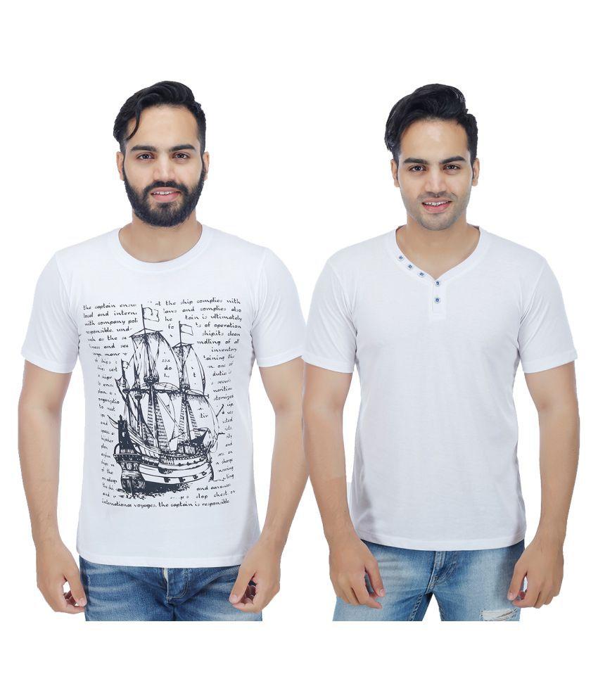 Rakshita's Collection White Round T-Shirt Pack of 2