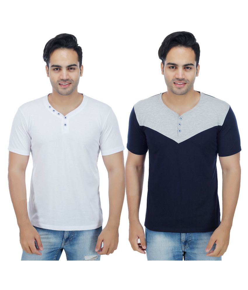 Christy World Multi Henley T-Shirt Pack of 2