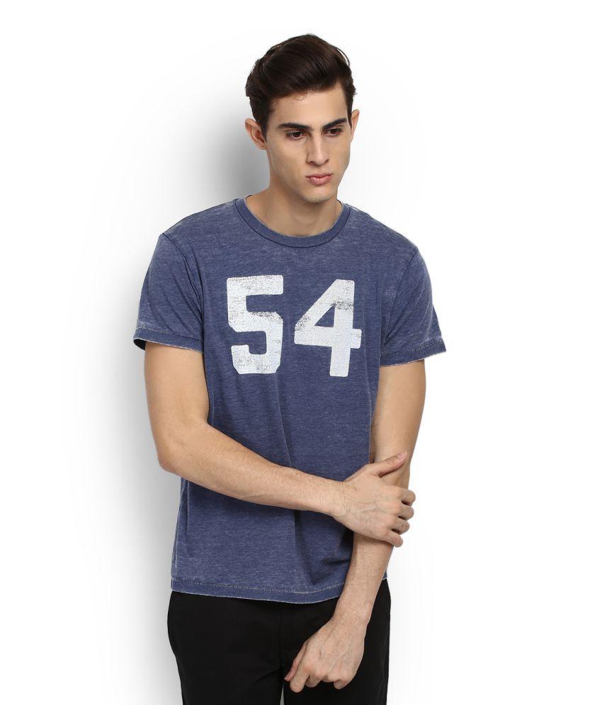 Fox Blue Round Neck  T-Shirt