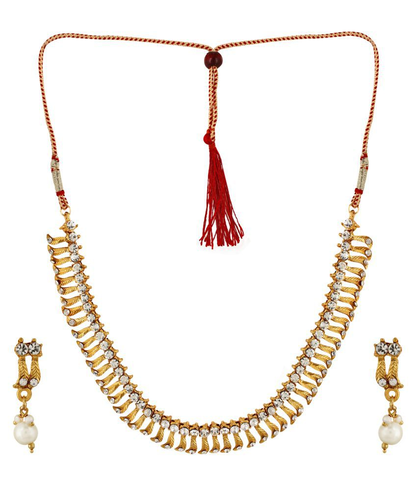 Fedexo White Cz N Gold Leaf Desigen Necklace With Earring Set