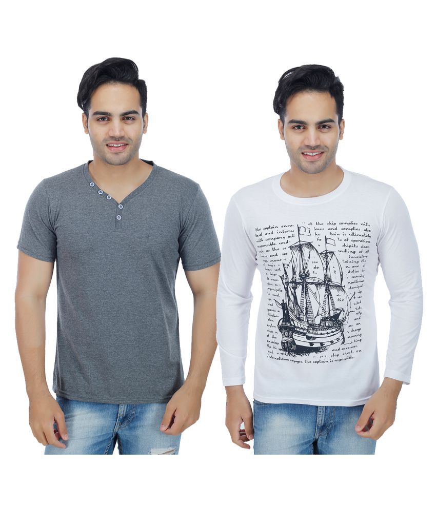 Sanvi Traders Multi Round T-Shirt Pack of 2