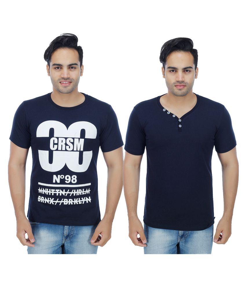 Sanvi Traders Navy Henley T-Shirt Pack of 2