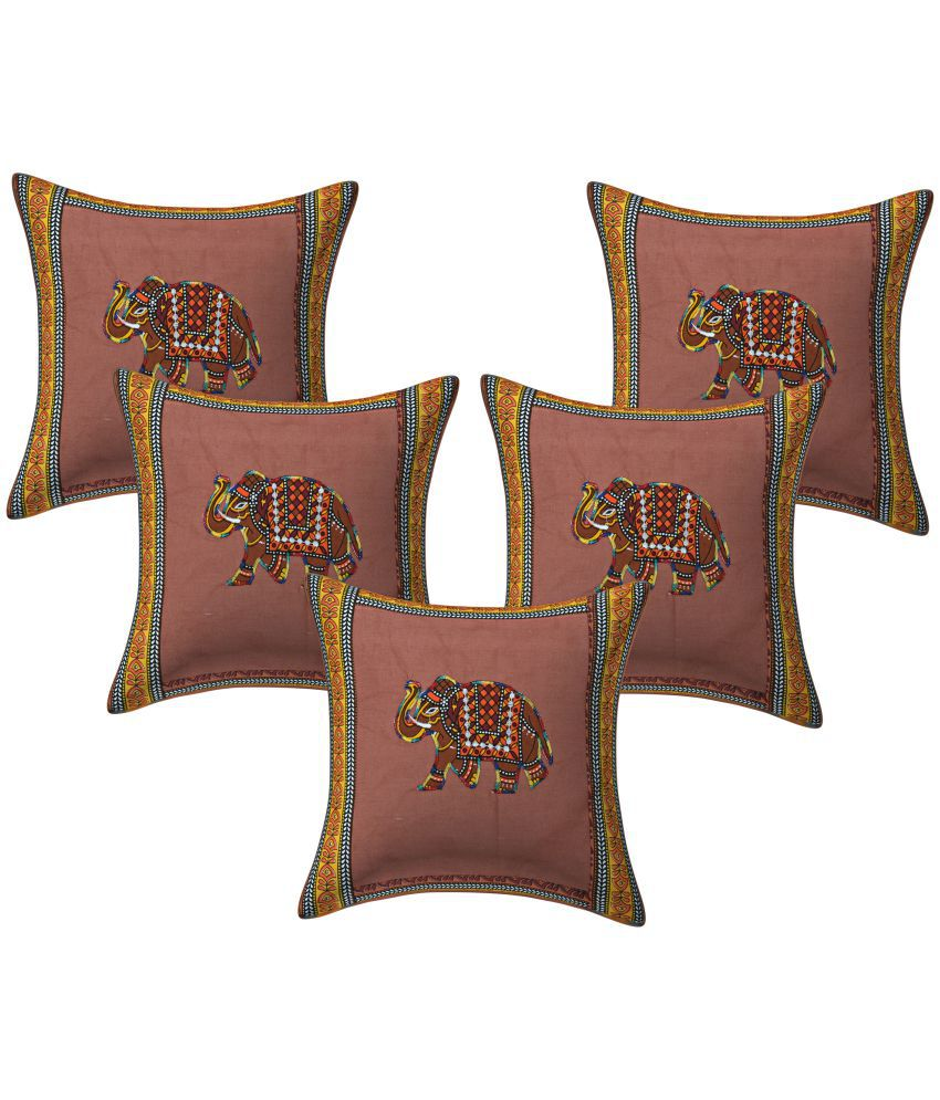 Cliq Set of 5 Cotton Cushion Covers 40X40 cm (16X16)