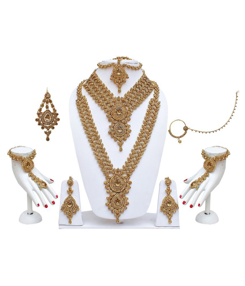 Lucky Jewellery for bride LCT Alloy CZ Stone Bridal Necklace Wedding Jewellery Set 8 Pcs.