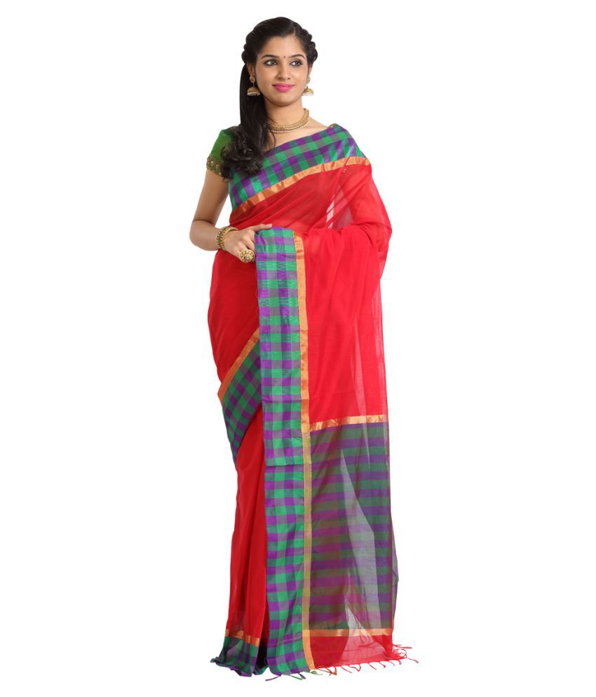 Kumaran Silks Red Cotton Silk Saree
