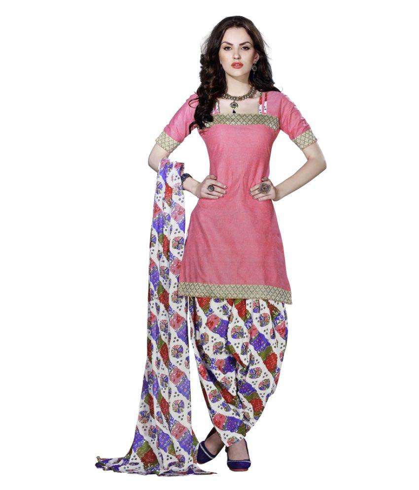 Minu Pink Cotton Dress Material