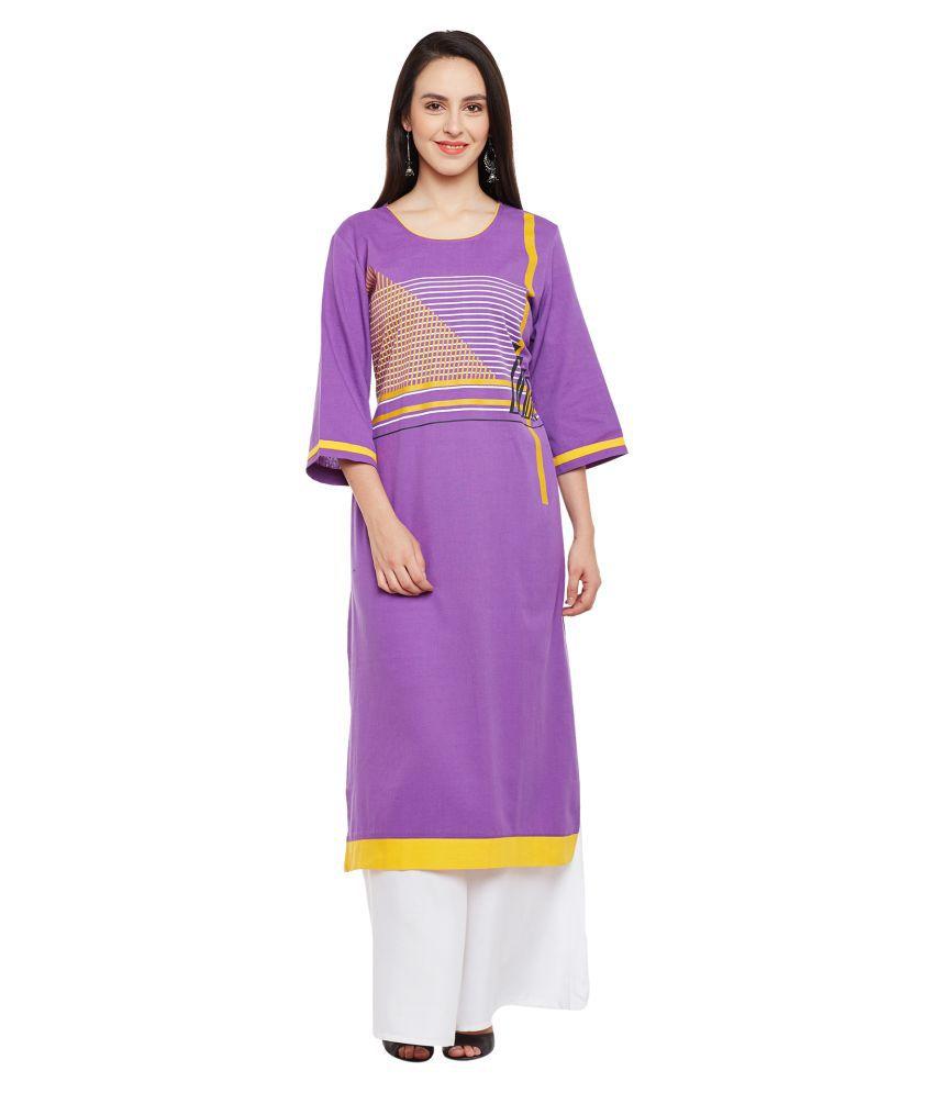 Kurti's Purple Cotton Straight Kurti