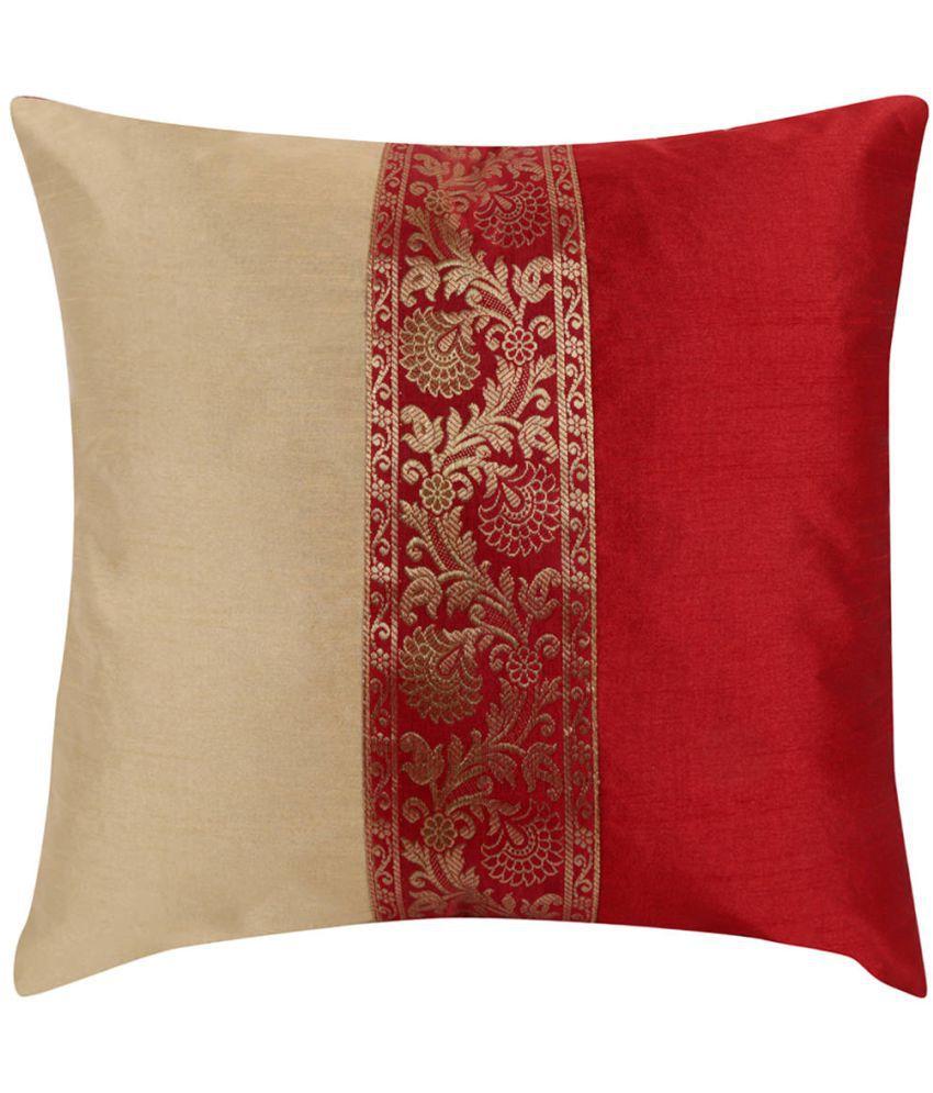Rajrang Single Poly Dupion Cushion Covers 40X40 cm (16X16)