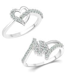 bceb74525ff486 Quick View. Vighnaharta Finger Touch Heart CZ Rhodium Plated Alloy Combo  Ring set for Women and Girls ...