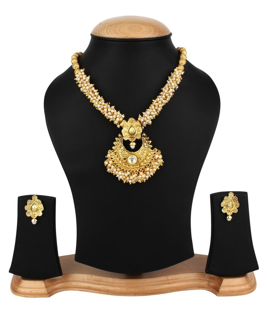 Penny Jewels Traditional Antique Gold Plated Latest Designer Comfy Necklace Set For Women & Girls
