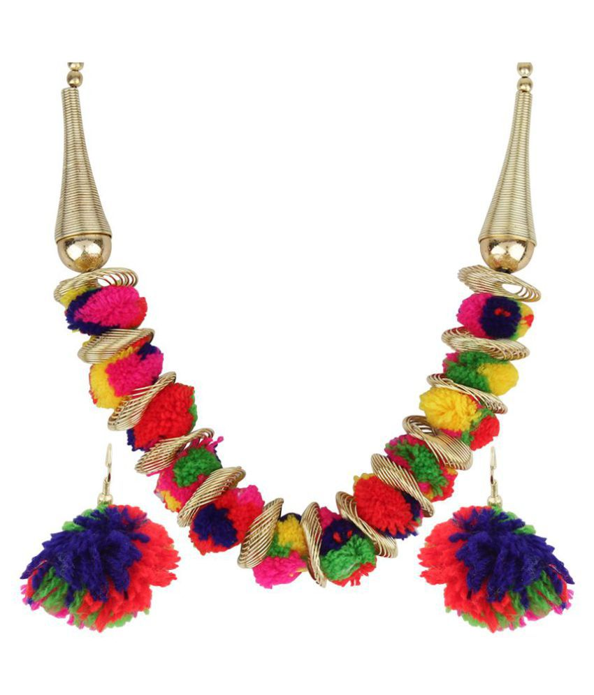 Renaissance Traders Multy Color Partywear Fashionable Funky Prettiest Pom Pom Necklace Set