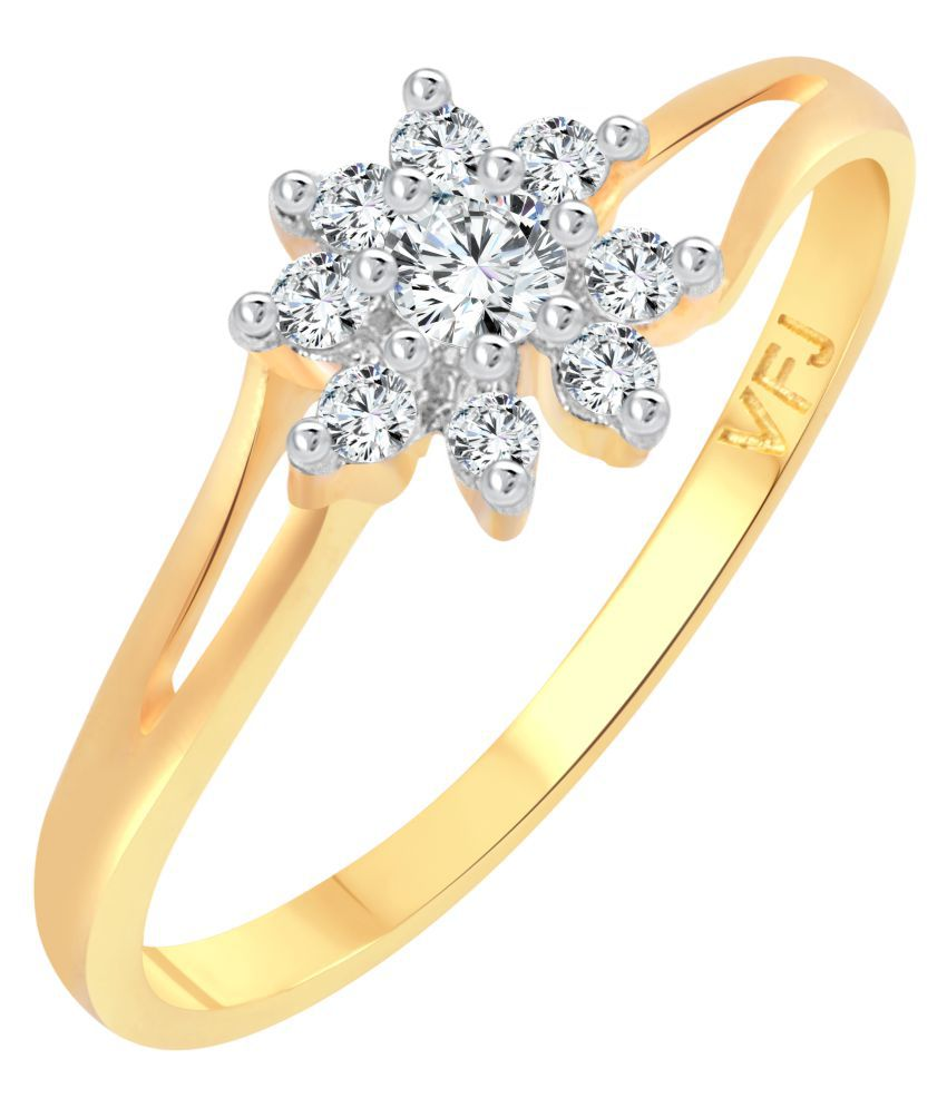 Vighnaharta Flory Solitaire CZ Gold and Rhodium Plated Alloy Ring for Women and Girls - [VFJ1254FRG16]