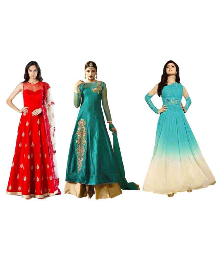 Kisna Fab Multicoloured Raw Silk Anarkali Stitched Suit