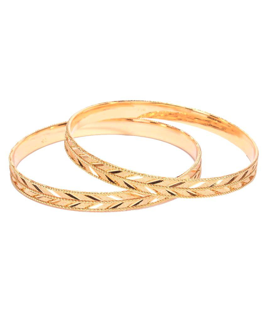 Manikya CITYGOLD Gold Colored Copper With 24 Carat Micro Gold Plated Guaranteed Pack of 2 Bangles Size (2.4)