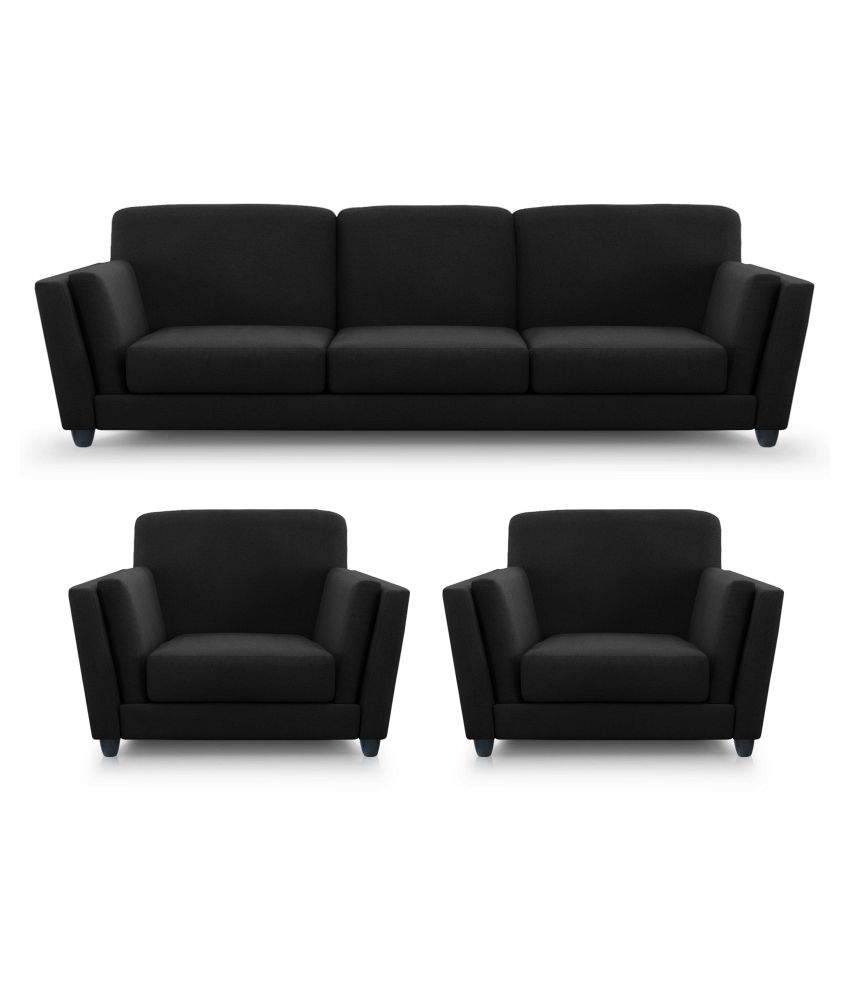 Dolphin cabana fabric 3 1 1 seater sofa set black buy for 9 seater sofa set