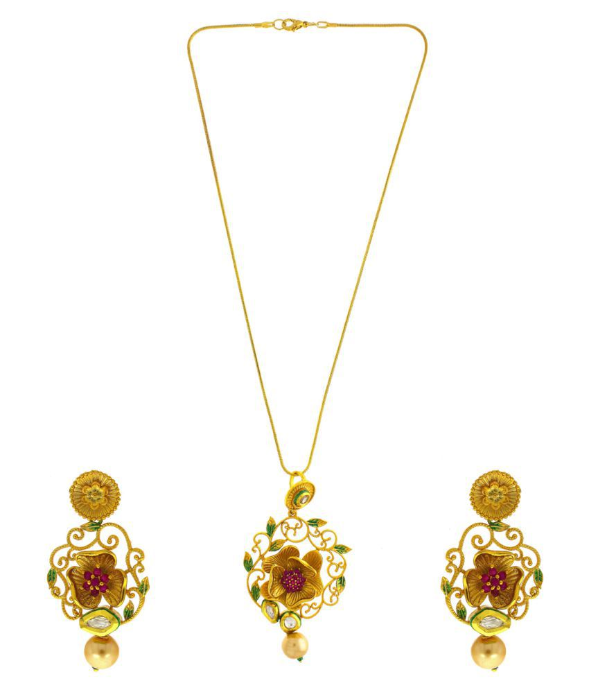 a6fe9533e7 ... Anuradha Art Golden Colour Flower Styled With Mina Work Stylish  Wonderful American Dimonds Stone Wonderful Pendant ...