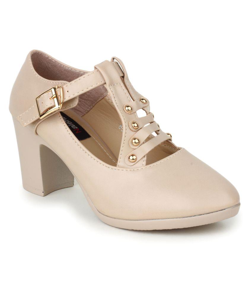 Naisha Beige Block Heels