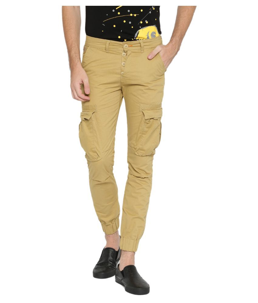 Sports 52 Wear Khaki Regular -Fit Flat Joggers