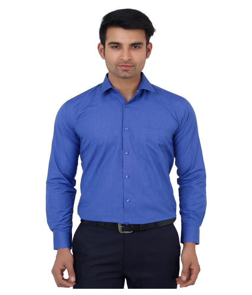 La Mode Blue Formal Regular Fit Shirt
