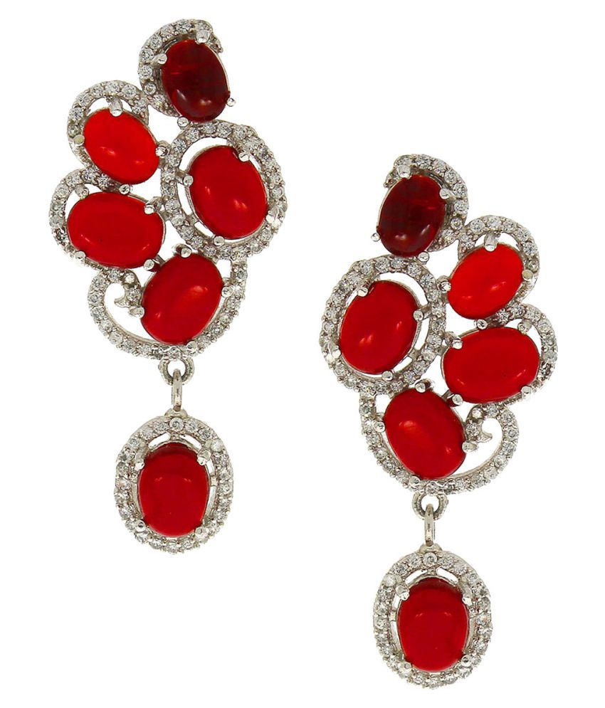 Anuradha Art Red Colour Adorable Wonderful Classy Party Wear Long Earrings For Women/Girls