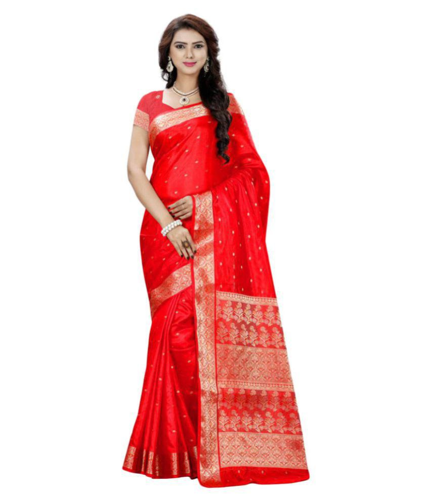 Saree Mall Red Silk Saree