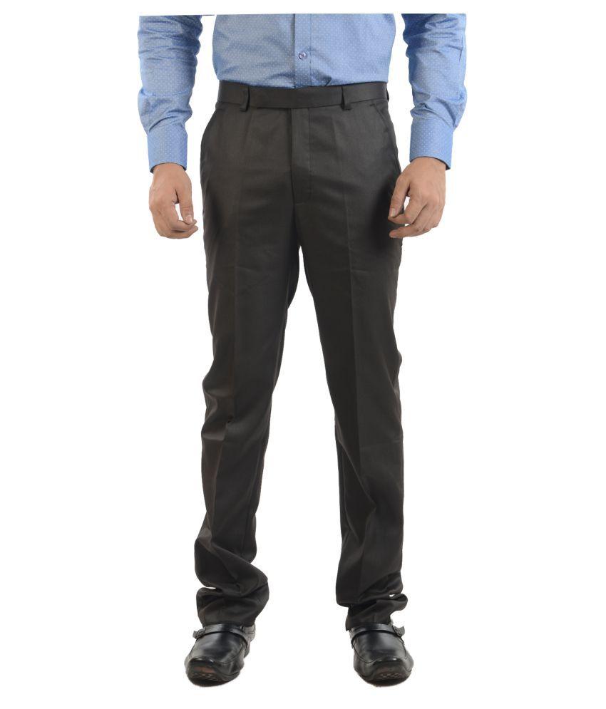 Sheriff Black Regular -Fit Flat Trousers