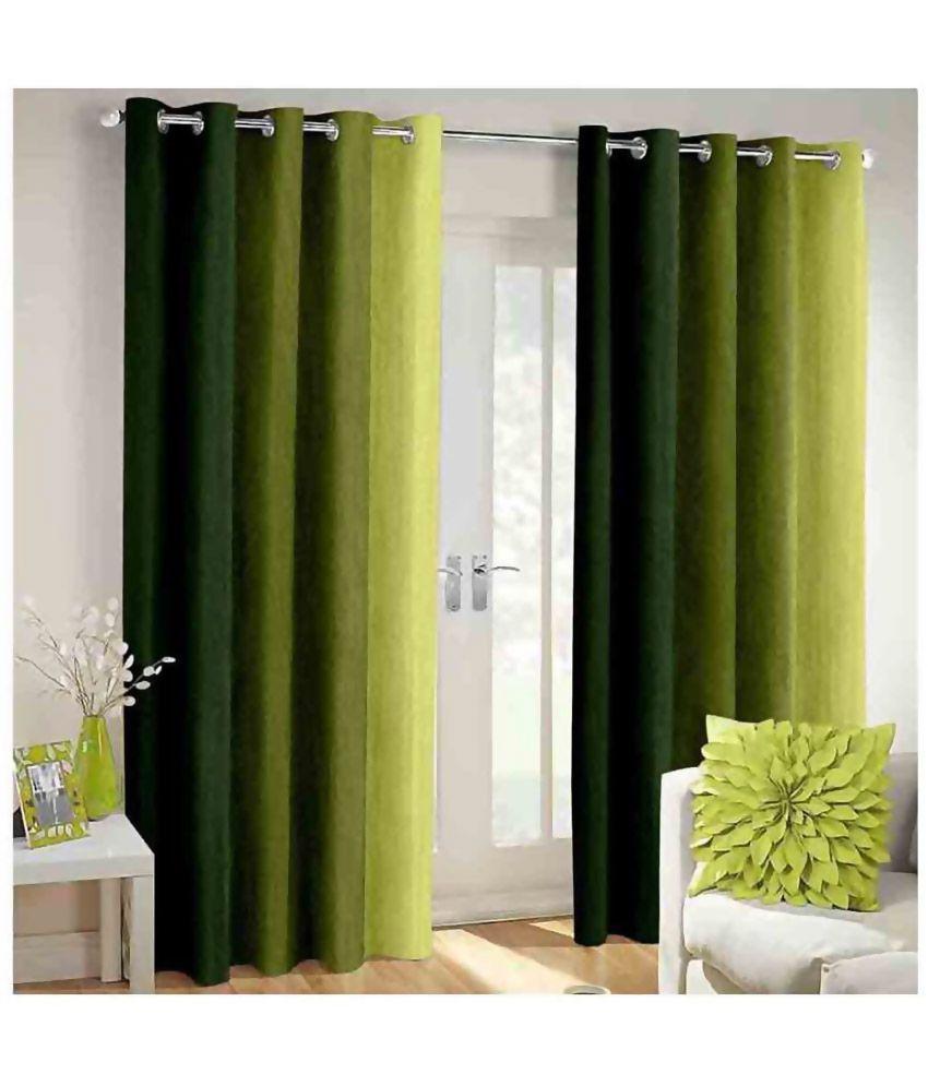 Shri Shyam Furnishing Set of 2 Door Eyelet Curtains Plain Green