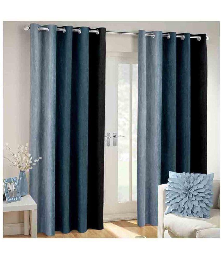 Shri Shyam Furnishing Set of 2 Door Eyelet Curtains Solid Multi Color