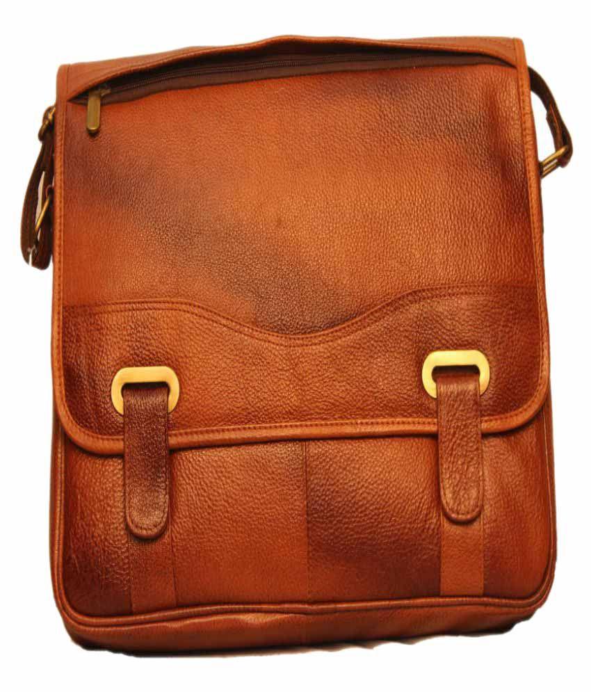 ALB Tan Leather Casual Messenger Bag