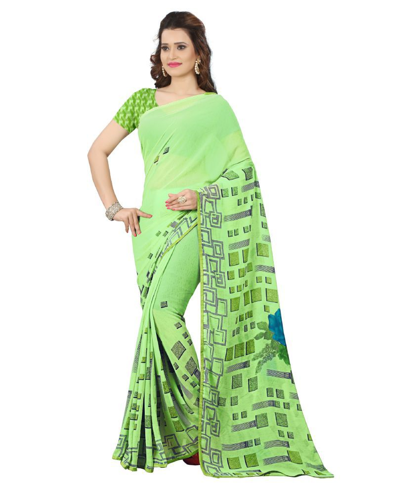 Kalaa Varsha Green Georgette Saree