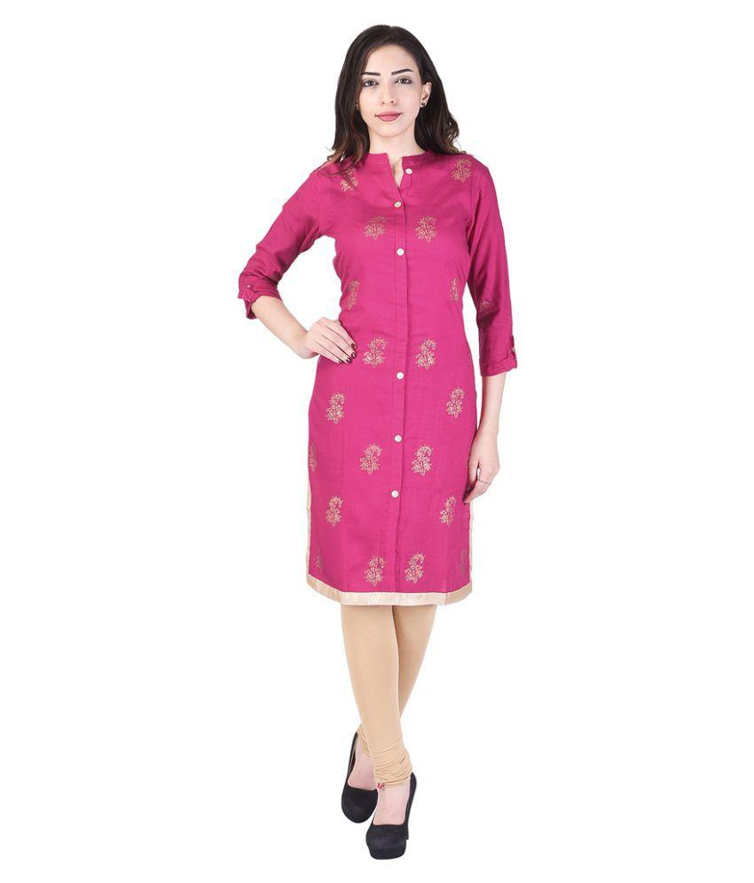 Shopping Rajasthan Pink Cotton Straight Kurti