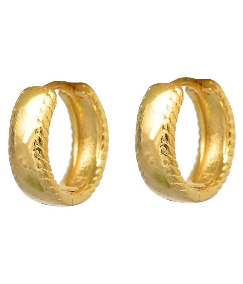 BeBold Piercing Gold Salman Style Stripe Fashion Bali Studs Earring for Men Boys