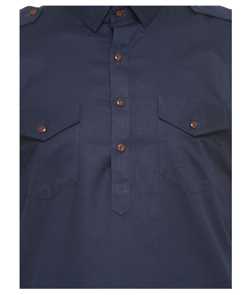 bff24cec40 ... RG Designers Navy Cotton Pathani Suit ...