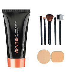 Oriflame Very Me Peach Me Perfect Skin Glow Dark - 30 ml with Make up Brush Set (5 Pcs) & Puff Set (2 Pcs.) Facial Kit gm