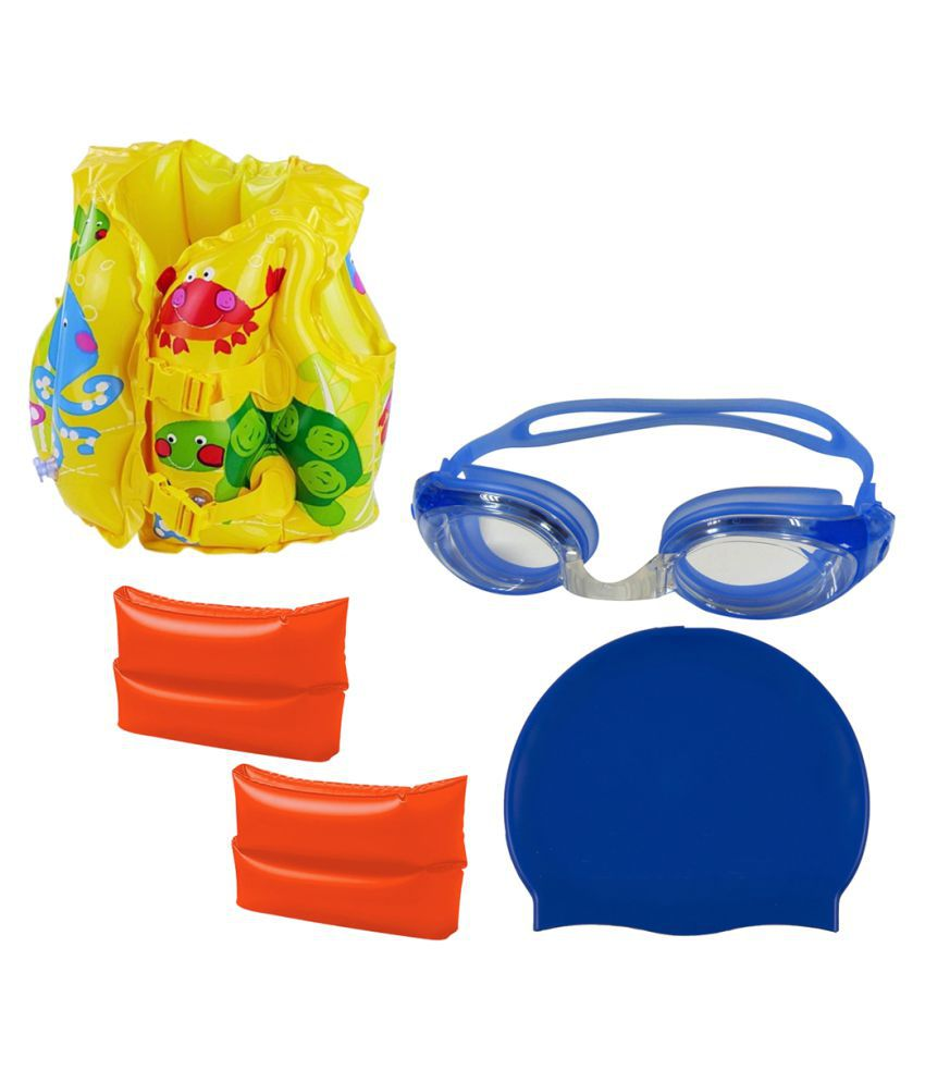 Gold Dust's Goggles, Silicone Cap with ArmBand with Swim life jacket for 3-6 Year Child