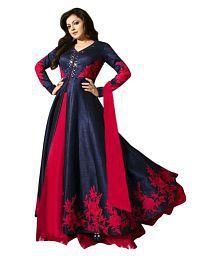55a8bc346d8 Quick View. Fashion Basket Blue and Red Bangalore Silk Semi Stitched Lehenga