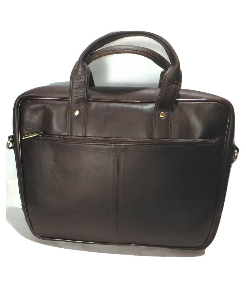 dc05241134ec Hrk India Brown Leather Office Bag Hrk India Brown Leather Office Bag