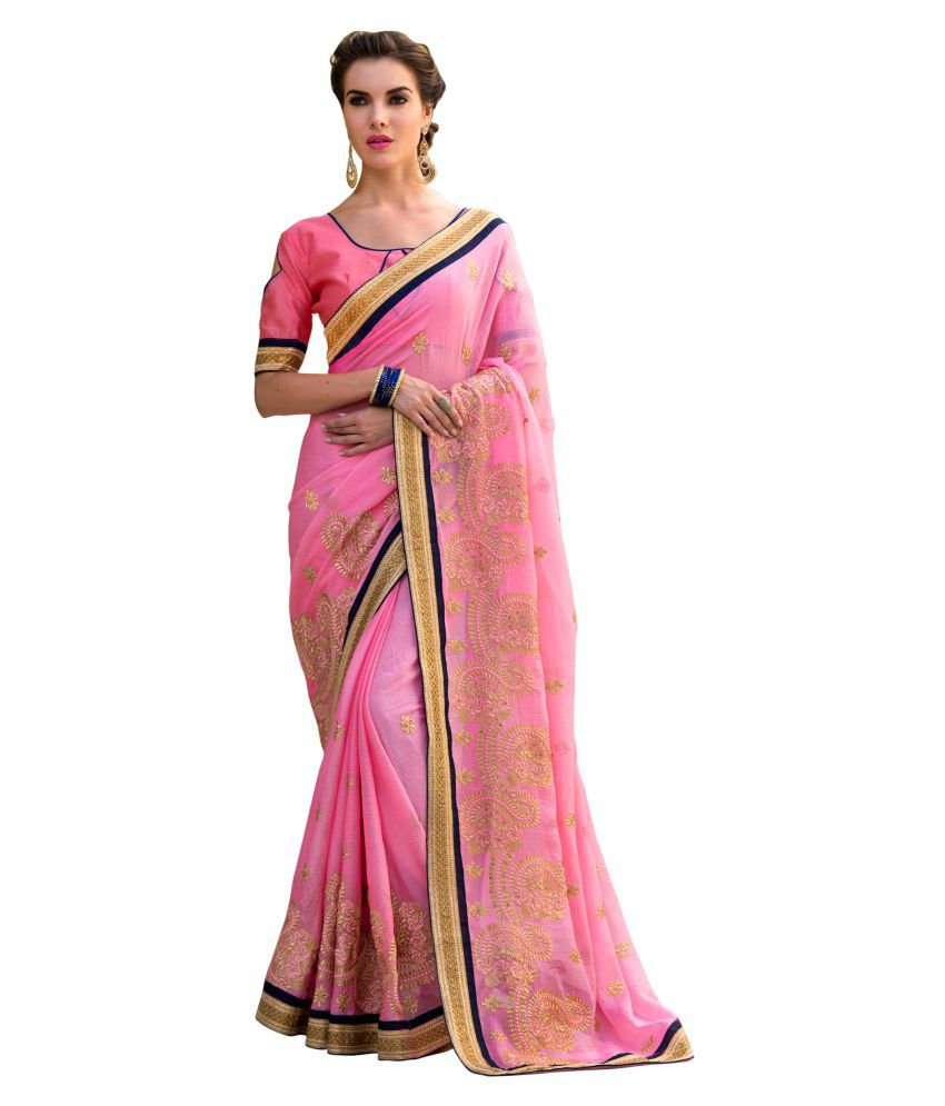 07ca8e7e67 Women Party Wear Designer Sarees Pink and Beige Georgette Saree - Buy Women  Party Wear Designer Sarees Pink and Beige Georgette Saree Online at Low  Price ...
