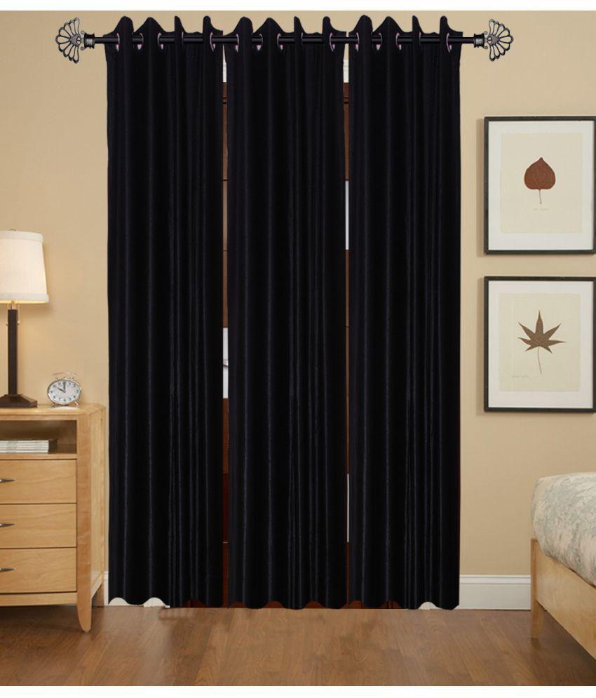 Akshaan Texo Fab Set of 3 Window Ring Rod Curtains Plain Black