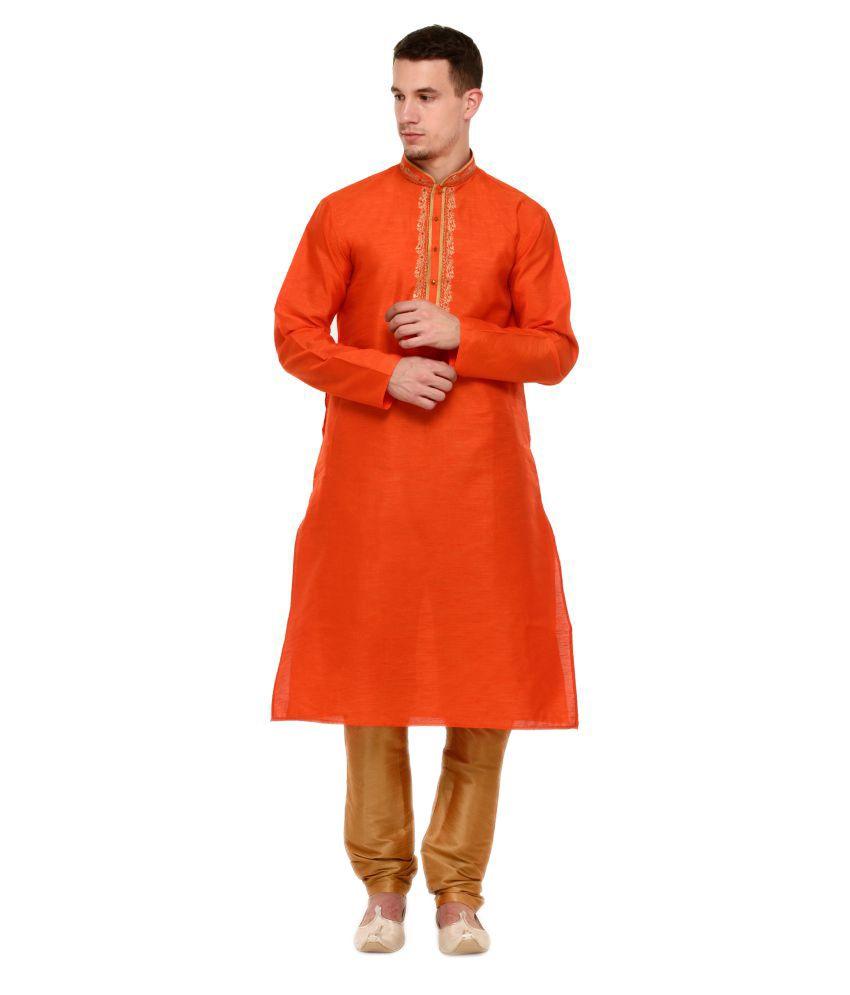 RG Designers Orange Silk Blend Kurta Pyjama Set