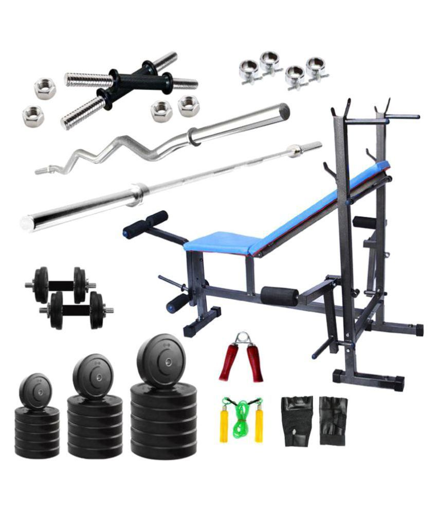 fitfly 40kg home gym set with 3ft curl 5ft straight rod dumbbell rods 8 in 1 multipurpose bench. Black Bedroom Furniture Sets. Home Design Ideas