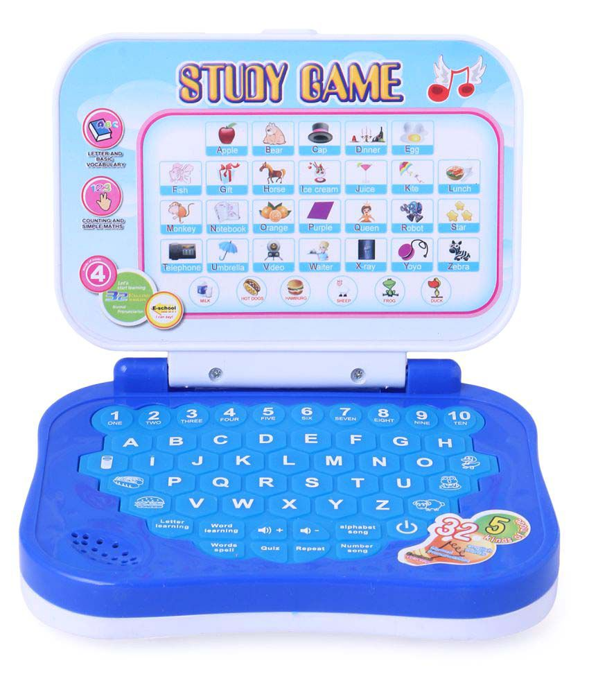 Shy Products Frozen Study Game Mini Learning Laptop for Toddlers (Blue)-Battery Operated