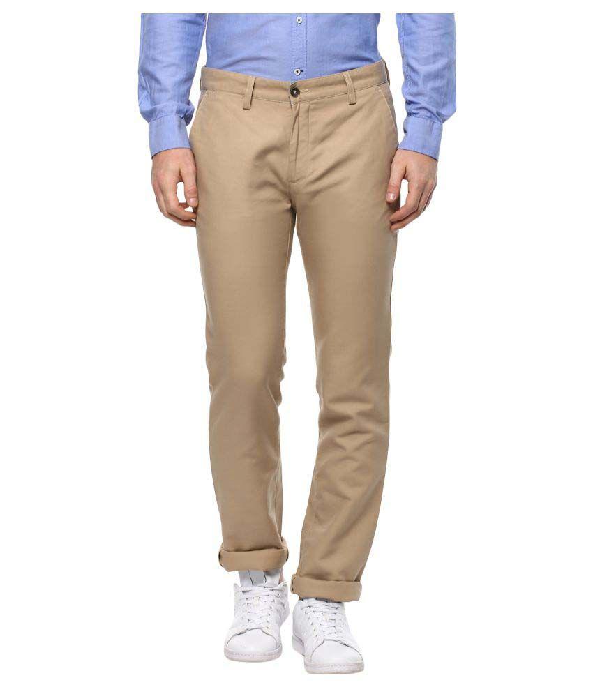 Turtle Beige Slim -Fit Flat Trousers