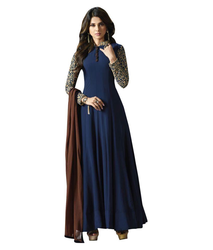 e218c5f7b994 YOYO Fashion Blue Georgette Anarkali Semi-Stitched Suit - Buy YOYO Fashion  Blue Georgette Anarkali Semi-Stitched Suit Online at Best Prices in India  on ...