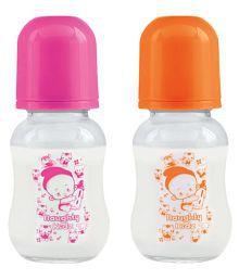 Naughty Kidz Regular Glass Feeding Bottle - Pack Of 2 (120/PNK/ORN//SCHM)