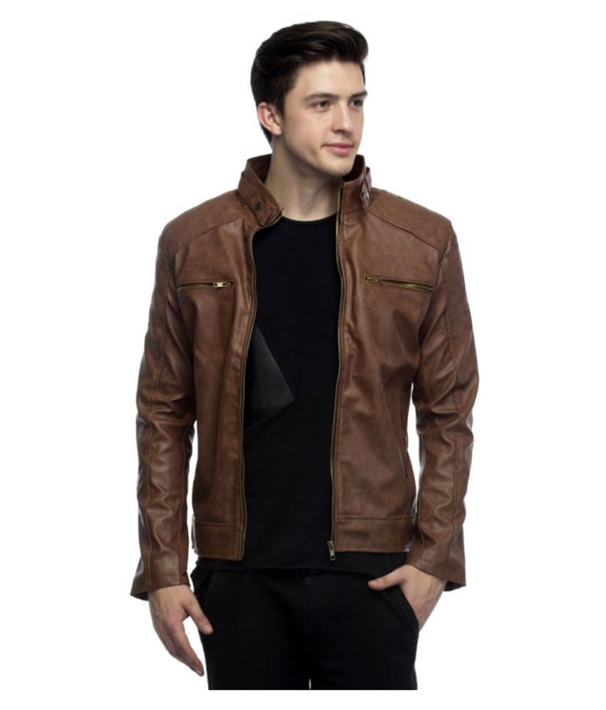 AAZ Brown Leather Jacket - Buy AAZ Brown Leather Jacket Online at ...